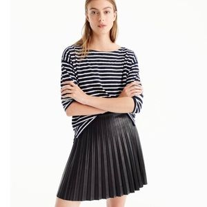 NWT J crew Pleated Faux Leather Mini Skirt 0P